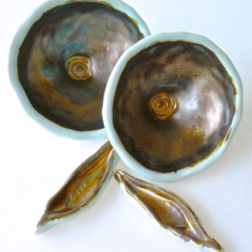 Ring bowl, Jewelry dish, Sushi Dipping Bowls, Salt bowls, sauce bowls, small bowl and Chopstick Rest in robins egg blue and bronze