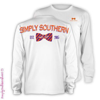 Simply Southern Est 2005 Clemson Orange Bow Girlie Bright Long Sleeve T Shirt