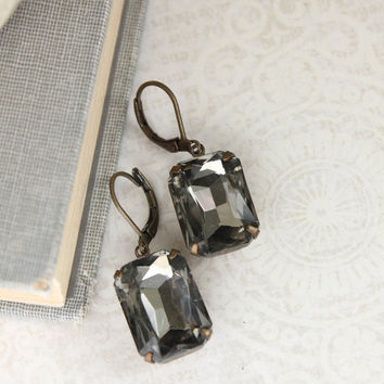 Black Glass Earrings Dark Slate Grey Rhinestone Dangle Rectangle Jewel Drop Earrings Vintage Style Dark Gray Wedding Nickel Free Lever back