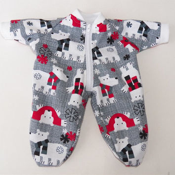"""American Girl Bitty Baby Clothes 15"""" Doll Clothes Grey Red Polar Bear Winter Flannel Zip Up Pajamas Pjs Sleeper"""