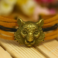 Tiger Bracelet  charm bracelet --Wax Cords and Imitation Leather Bracelet--Best Chosen Gift