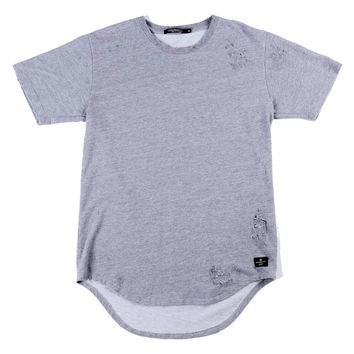 Distressed Terry Grey Extended Tail Tee Shirt
