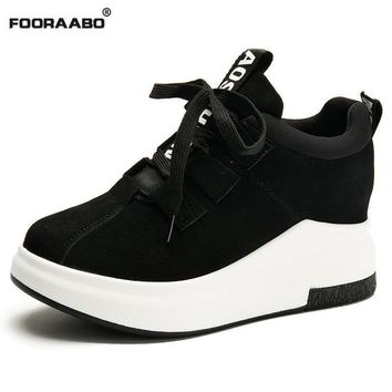 Fooraabo Tenis Feminino Casual Women Shoes Black Platform Sneakers Women 2018 Superstar Ladies Shoes Woman Chaussures Femme