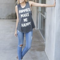 Puppies Make Me Happy Tank - Charcoal