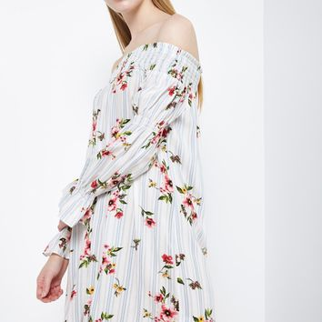 Off The Shoulder Voluminous Sleeve Dress