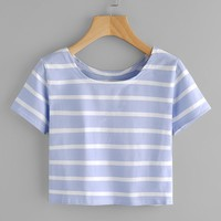 Contrast Striped Tee BLUE