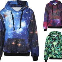 2015 Autumn Winter Galaxy  Print Punk Women Hoodies  New  Fashion Coat  With Pocket  Digital Print Hooded Pullovers = 1932523076