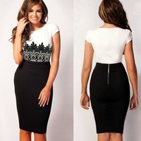 Charming Ladies Crew Neck Short Sleeve Crochet Lace Womens Formal Pencil Dress