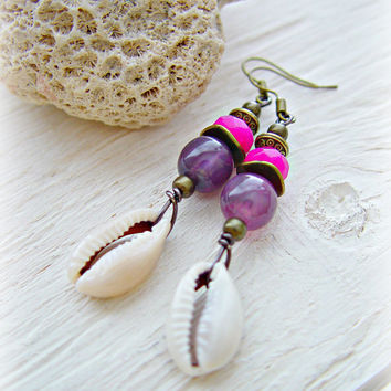 Seashell Earrings - Boho Pink Earrings - Hippie Earrings - African Earrings - African Jewelry - Boho Jewelry - Tribal Earrings