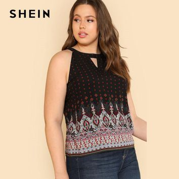 SHEIN Plus Size Sleeveless Tribal Print Vest Top Summer Women Large Size Ornate  Keyhole Halter Cut Out Multicolor Female Top