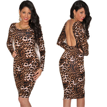 Leopard Long Sleeve Print Backless Midi Dress