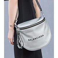 """BALENCIAGA"" Popular Women Retro Leather Rivets Shoulder Bag Crossbody Satchel"