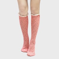 Lace Trimmed Scalloped Pointelle Knee High Socks - Pink