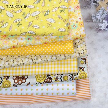 TIANXINYUE 7pcs 50*50cm Yellow 100% Cotton Quilts Fabric for DIY Sewing Patchwork Bedding Bags  Baby Cloth Textiles Fabric