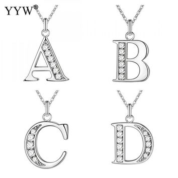 YYW hot sale alphabet/letter necklace charms crystal pendant long collier silver color love gift chain necklace for women 18inch