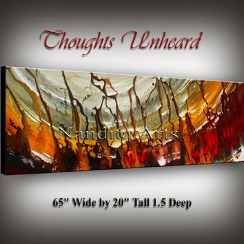Contemporary Art Acrylic Painting, large red artwork, red home decor, brown office art, wall art, Modern Painting, water wave gold artwork