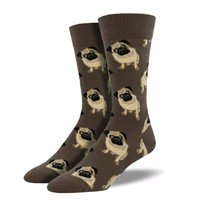 Novelty Socks BROWN PUG Fabric Crew Dog Puppy Best Friend Mnc609-Bro