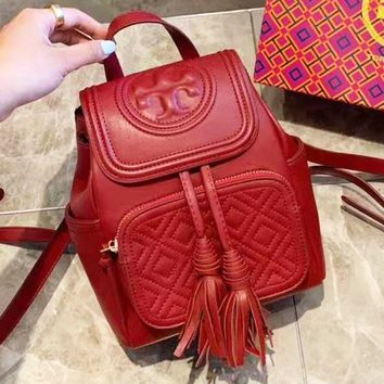 Tory Burch sells casual solid color lady's shopping bag with stylish turtleneck backpack