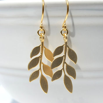 Cascading Leaf Earrings, gift, gift, wedding jewelry, bridal jewlery, bridesmaid gift, bohemian, nature inspired