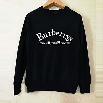 BURBERRY Classic Popular Women Men Leisure Embroidery Sweater Top Sweatshirt Black