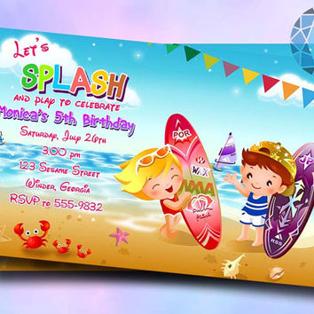 Beach Party Design For Birthday Invitation on SaphireInvitations