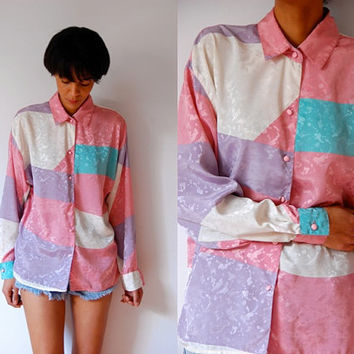 Vtg Retro Pastel Color Block Tonal Print Button Down LS Shirt