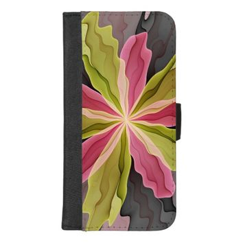 Joy, Pink Green Anthracite Fantasy Flower Fractal iPhone 8/7 Plus Wallet Case