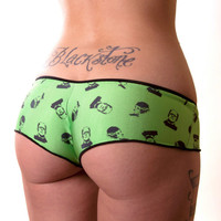 Green Cheeky Panty with All Over Frankenstein's Monster and Bride of Frankenstein Print