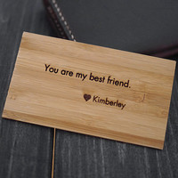 Wood Wallet Insert Card , Engraved Wallet card , Personalized Wallet Card , Anniversary Gift , Valentine's Day , Wedding Gift