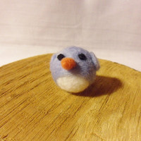 Needle Felted Bird -  miniature blue bird figure - 100% merino wool