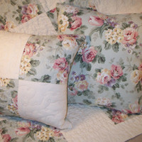Lap quilt pillow cover Shabby Country Cottage Chic Roses floral Patchwork