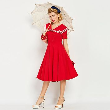 Sisjuly women vintage dress 1950s nautical style summer button retro dresses sailor collar female cute red vintage dresses 2017