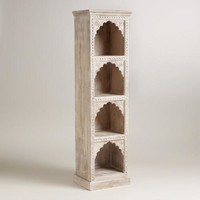 Hand-Carved Wood Bookshelf