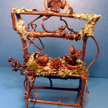 Fairy Garden Bakers Rack - One of a Kind Fae Furniture Miniatures