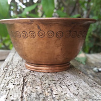 French vintage small copper bowl, copper incense burner for loose incense, pagan altar offering bowl, Wicca ritual dish, incense cone burner