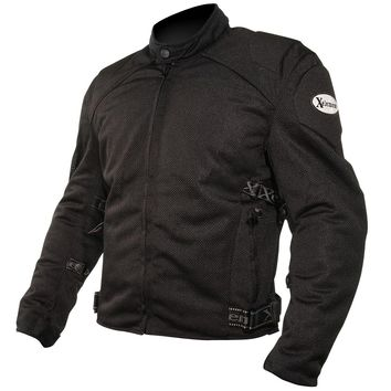 Xelement CF2157 Mens Black Mesh Motorcycle Jacket with Level-3 Advanced Armor