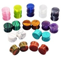 12pairs Natural stone Ear Plugs Skins piercing Ear Expander Stretcher Plug Saddle Ear Gauges Body Piercing Jewelry Drop Ship