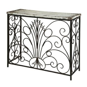 A.M.B. Furniture & Design :: Living room furniture :: Hall trees & Console tables :: Parcel Layered Antique White Finish Console Table