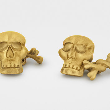 """Jolly Roger"" Skull and Bones Cufflinks in 18K Gold"