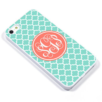 Personalised iPhone Case iPhone 5 iPhone 5s iPhone 5C iPhone 4 Samsung Galaxy S3 S4 - Monogram Geometric Quatrefoil Mint Coral - p02