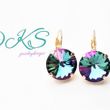 Celadon Aqua, 14MM Swarovski Earrings, Lever Back, Drops, Dangles, Rainbow, Rose Gold, DKSJewelrydesigns, FREE SHIPPING