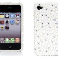 iPhone 4S Case, iPhone 4 Case, iSee Case 3D White Pearl Design Bling Rhinestone Crystal Snap on Full Cover Case for iPhone 4 iPhone 4S (4-3D White Pearl)