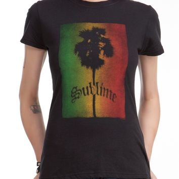 Sublime RASTA PALM TREE Girls Junior T-Shirt NWT Licensed & Official