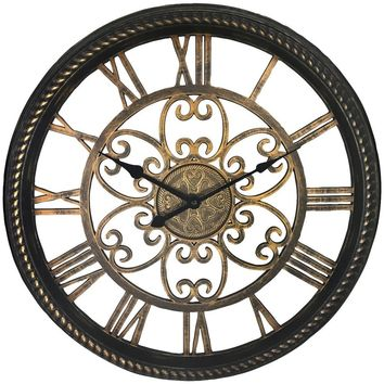 "Westclox 19.5"" Wall Clock With Antique Black And Gold Finish NYL32949BK"