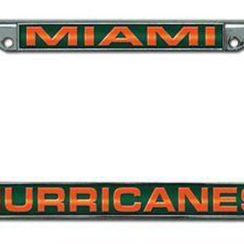 Miami Hurricanes LASER FRAME Chrome Metal License Plate Cover Tag University of