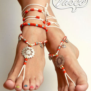 Barefoot Sandals. White Orange Bellydance Shoes