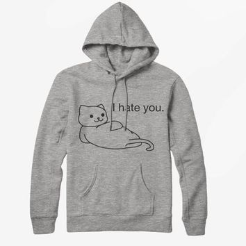 New Arrive Spring Long Sleeve Pullover Cat I HAT YOU Graphic Sweatshrit Hoodies Style Girl Unisex Jumper Oversize Cotton Outfits
