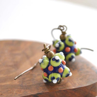 Blue Pinata Ball Earrings, Festive, Lampwork Glass, Ethnic Earrings,
