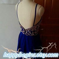 Backless beaded royal blue short homecoming dress