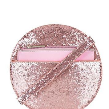 Blush Glitter Cross Body Circle Bag by Skinny Dip London